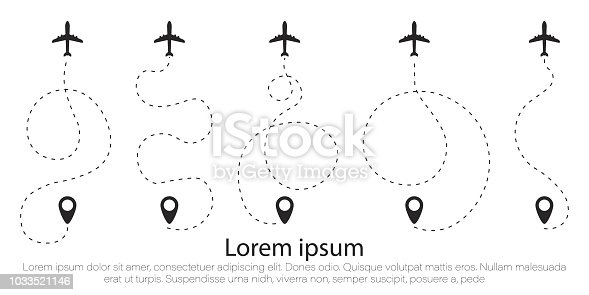 The airplane is in a dotted line. The waypoint is for a tourist trip. The dots and its track are on a white background. Vector illustration. Tourism and travel.