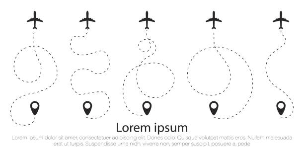 Set airplane, line. The airplane is in a dotted line. The waypoint is for a tourist trip. The dots and its track are on a white background. Vector illustration. Tourism and travel. airport designs stock illustrations