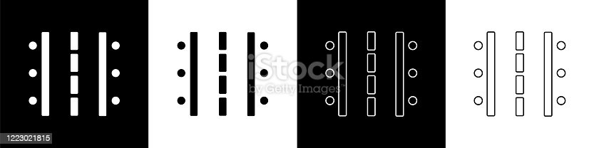 istock Set Airport runway for taking off and landing aircrafts icon isolated on black and white background. Vector Illustration 1223021815