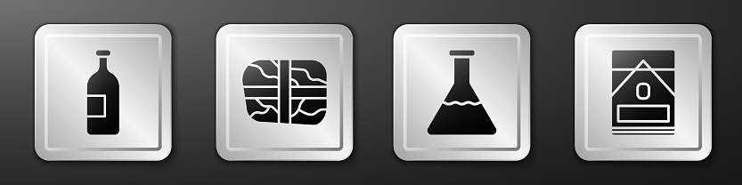 Set Alcohol drink bottle, Package with cocaine, Test tube and flask and Cigarettes pack box icon. Silver square button. Vector