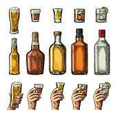 Set alcohol drinks bottle, glass, hand holding beer, gin, tequila