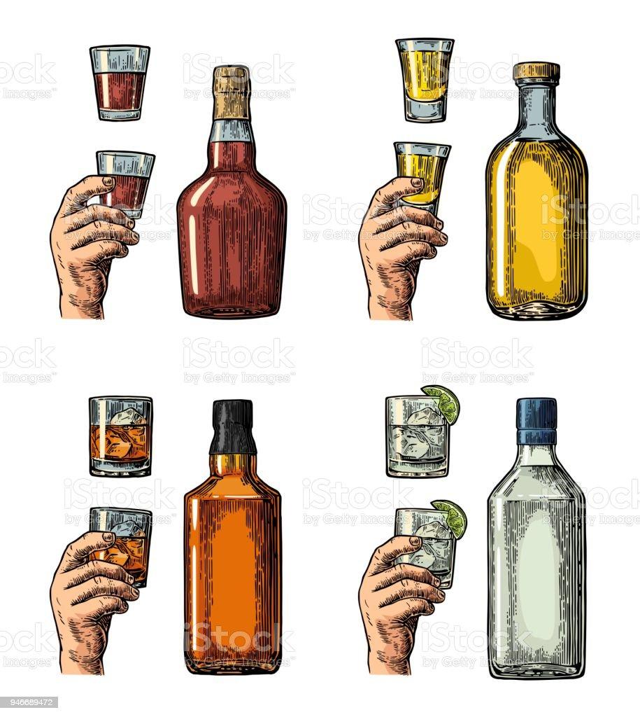 Eingestellten Alkoholischen Getränke Mit Flasche Glas Und Hand Mit ...