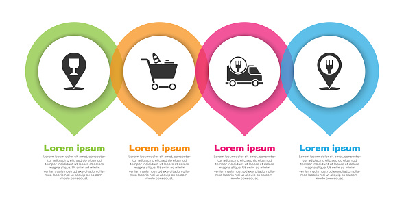 Set Alcohol or beer bar location, Shopping cart and food, Fast delivery by car and Cafe and restaurant location. Business infographic template. Vector