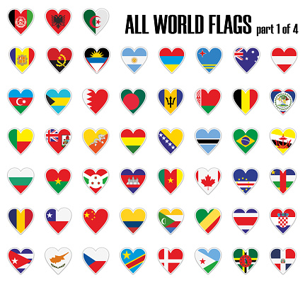 Set all World flags part 1 of 4 in heart with shadow and white outline