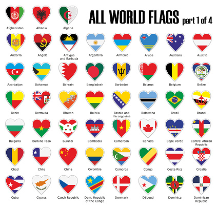 Set all World flags part 1 of 4 in heart with shadow and white outline with names