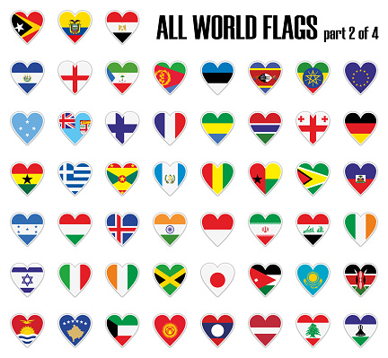 Set all World flags part 2 of 4 in heart with shadow and white outline