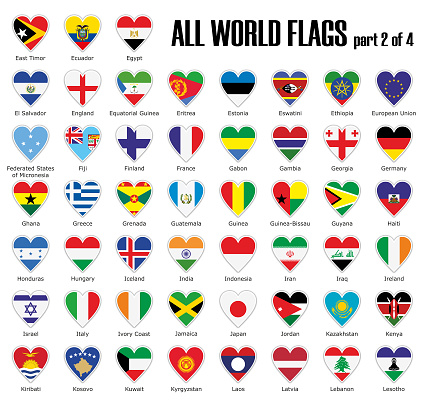 Set all World flags part 2 of 4 in heart with shadow and white outline with names