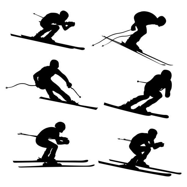 illustrations, cliparts, dessins animés et icônes de athlète de ski alpin de la valeur - ski