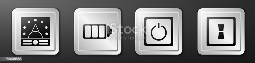 Set Ampere meter, multimeter, voltmeter, Battery charge level indicator, Electric light switch and Electric light switch icon. Silver square button. Vector