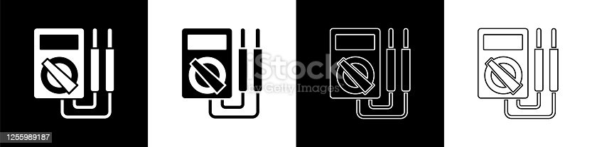 Set Ampere meter, multimeter, voltmeter icon isolated on black and white background. Instruments for measurement of electric current. Vector Illustration