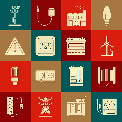 Set Ampere meter, Wind turbine, Coal power plant and factory, Electrical outlet the USA, Exclamation mark triangle, High voltage pole line and Car battery icon. Vector