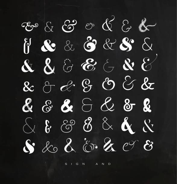 stockillustraties, clipart, cartoons en iconen met set tekens voor brieven krijt - borden en symbolen