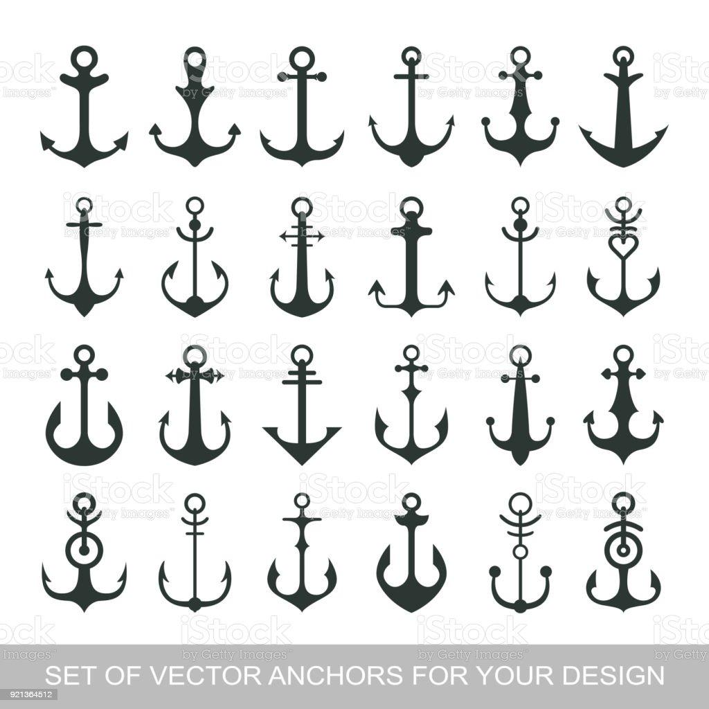 Eingestellten Anker Emblem Vorlageseemannsymbol Marine Symbol Symbol ...