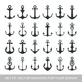 Set anchor emblem. Template sailor icon. Marine symbol symbol. Vector illustration of a yacht club, travel agency. theme of travel. Graphic icon for design