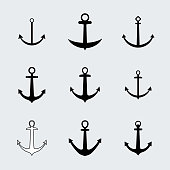 Set anchors icons. Vector. Vintage elements for different design