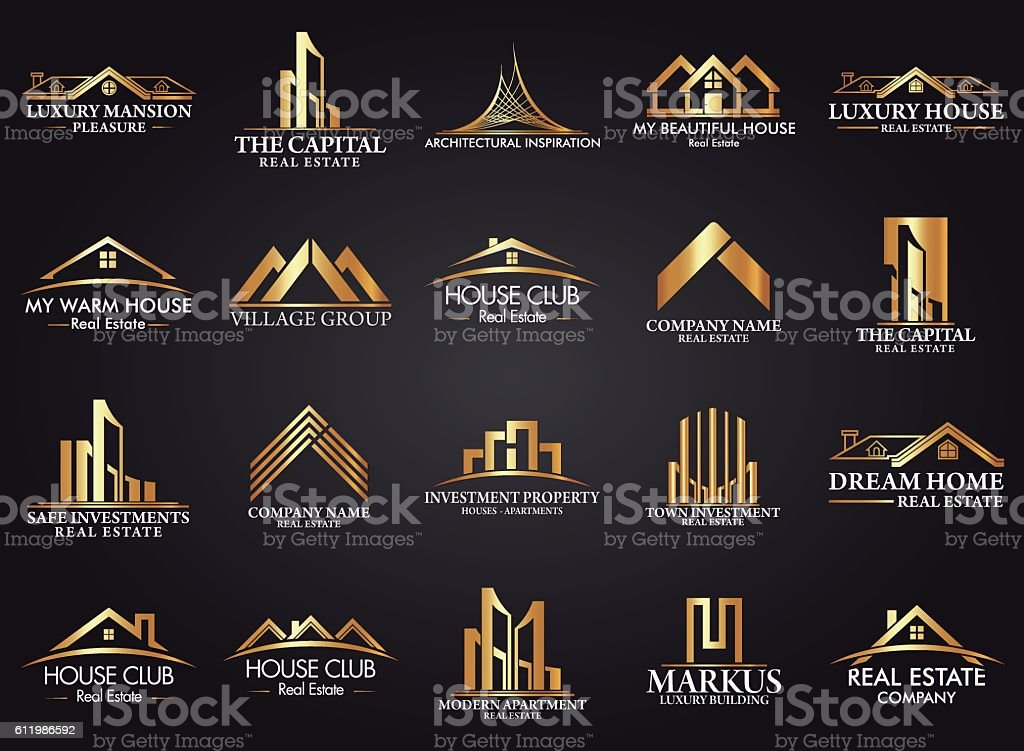 Real Art Design Group : Set and group real estate building construction logo