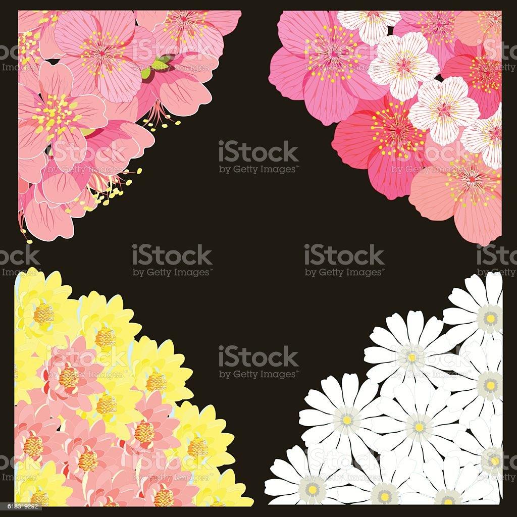 set angle with sakura cherry blossom, chamomile, lotus. vector i vector art illustration