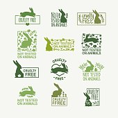 Set animal logo cruelty free. Sign with silhouette rabbit and flower and nature leaf. Design stamp for product not tested on animals. Layout Badge for natural cosmetic.  Vector symbol