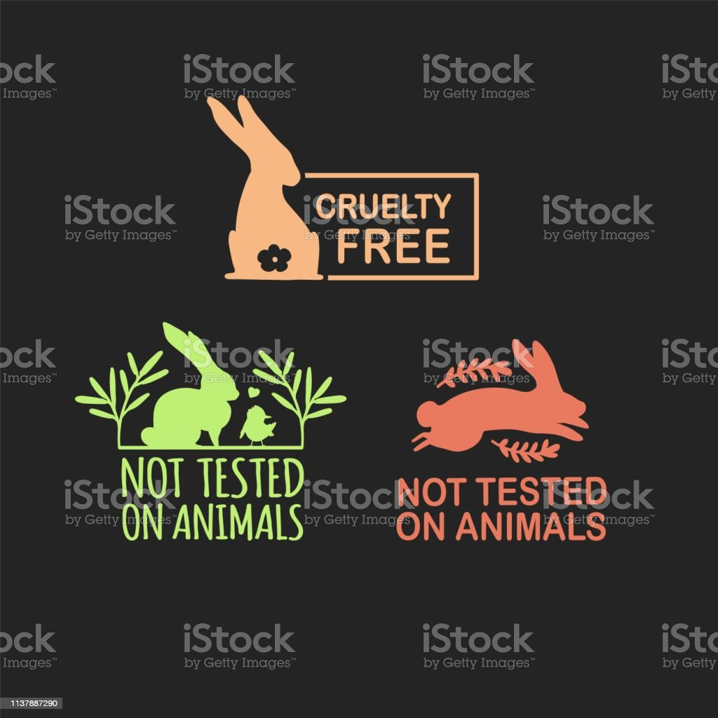 Set Animal Logo Cruelty Free Sign With Silhouette Rabbit And