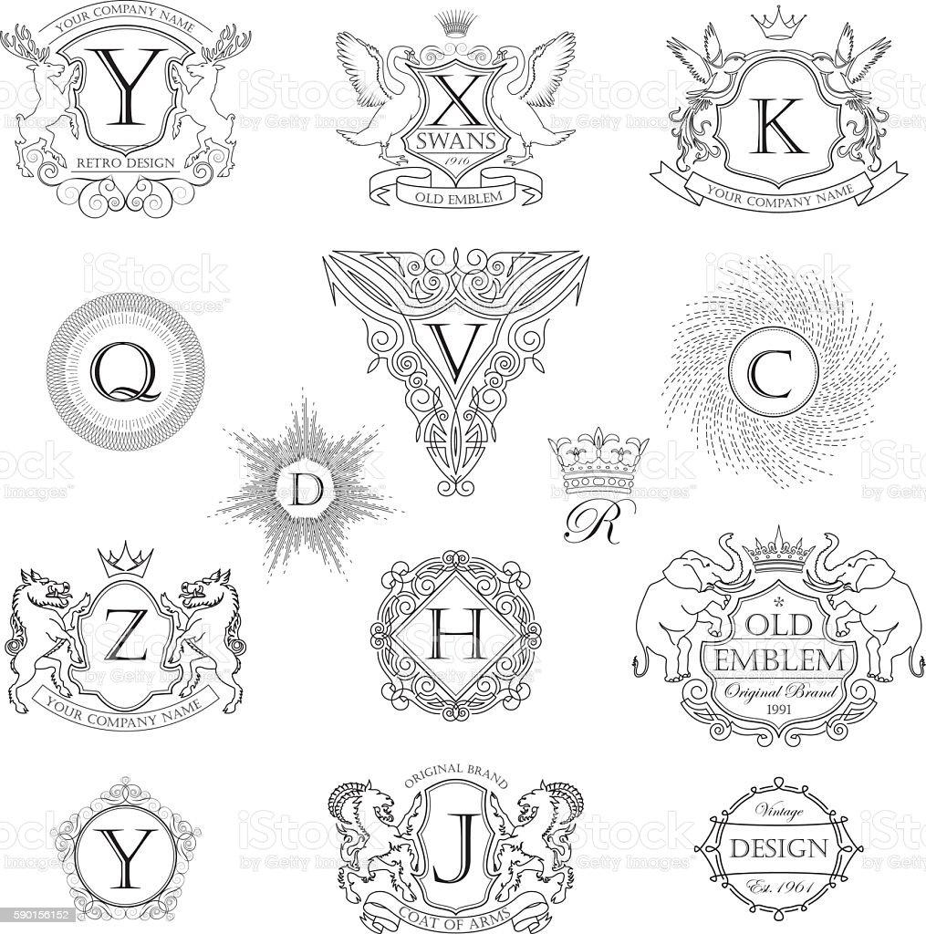 Set animal monogram coat of arms vector art illustration