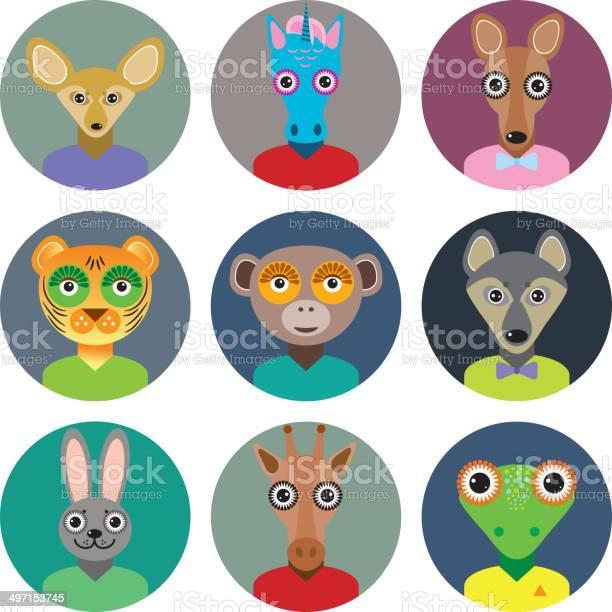 Set animals faces circle icons trendy flat style zoo infographics vector id497153745?b=1&k=6&m=497153745&s=612x612&h=ooeyvmi0gcktnzdtlfbysgw9tni9mjfnmqfbm1bm4mo=