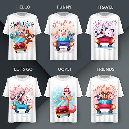 Set animals t-shirt - mockup for your idea