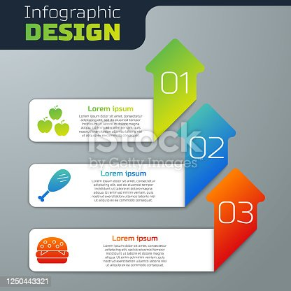 Set Apple, Chicken leg and Burger. Business infographic template. Vector