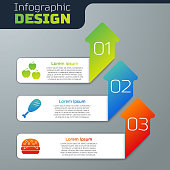 istock Set Apple, Chicken leg and Burger. Business infographic template. Vector 1250443321