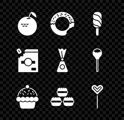 Set Apple, Donut, Ice cream, Cupcake, Macaron cookie, Lollipop, Candy packaging for sweets and icon. Vector