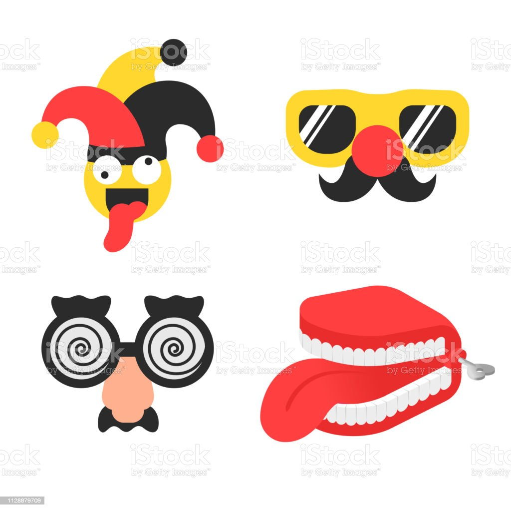Set april foll's day stuff with jester in hat, glasses with nose and false teeth with tongue vector art illustration