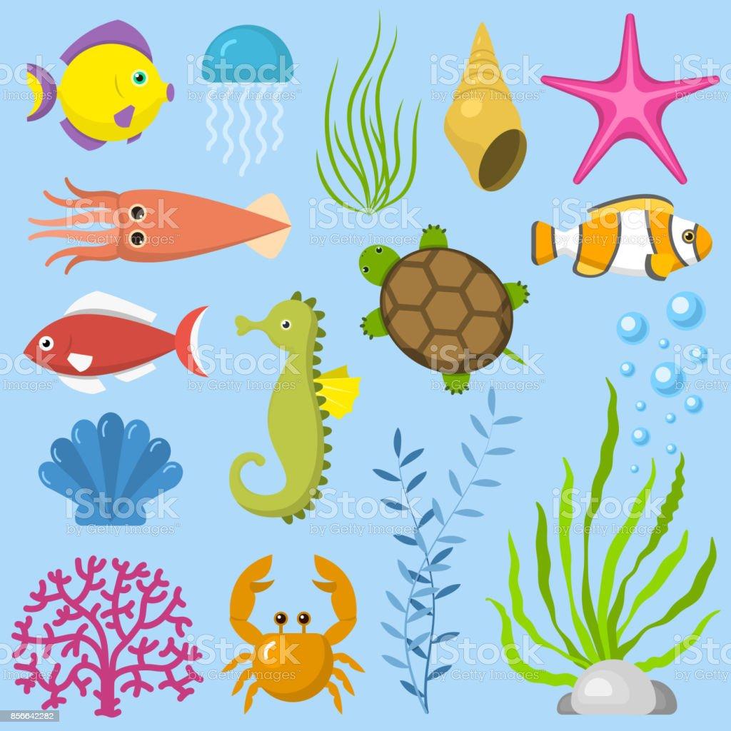 Set aquatic funny sea animals underwater creatures cartoon characters...