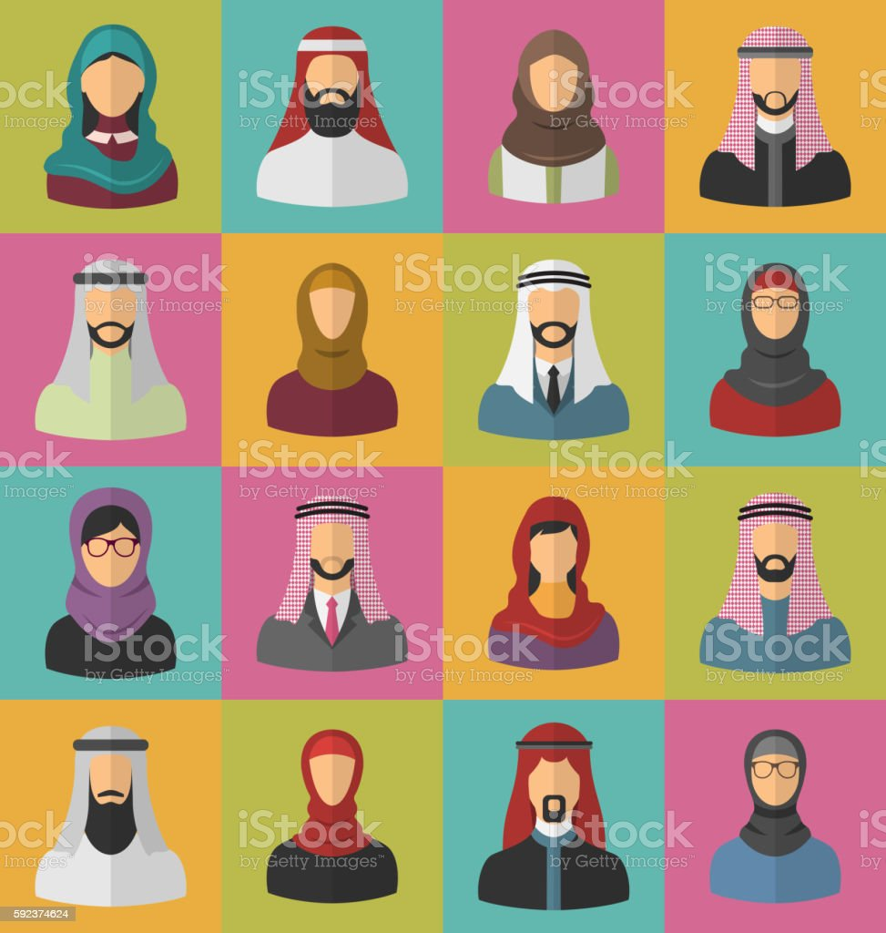 Set Arabic Men and Women vector art illustration