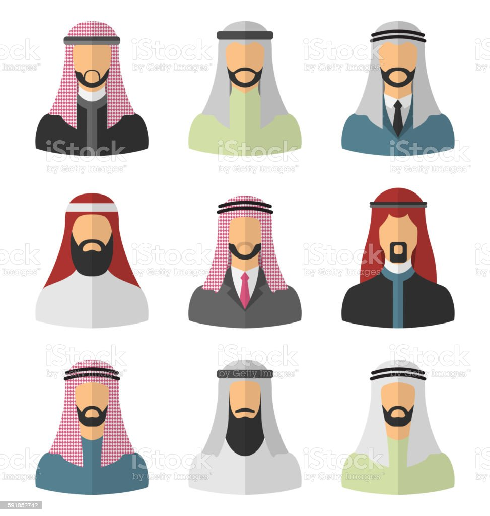 Set Arabic Men Flat Icons vector art illustration