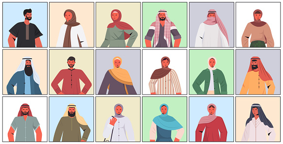 set arabic men women in traditional clothes arab male female cartoon characters collection