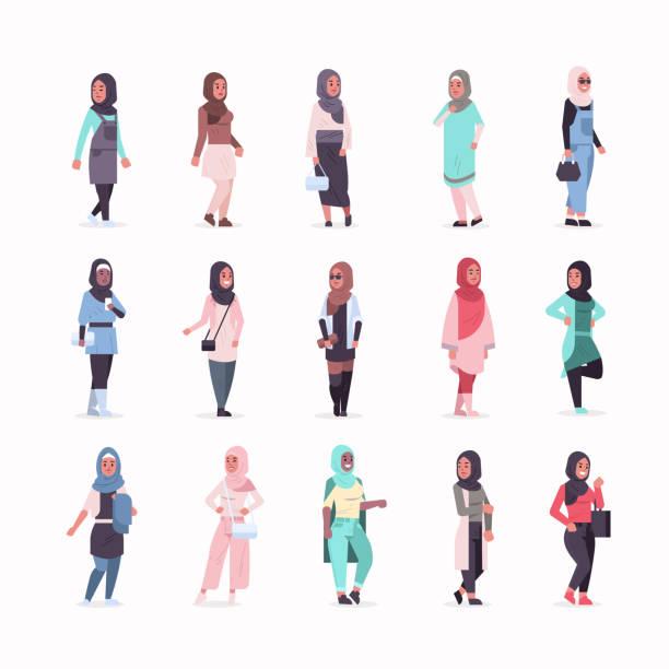 illustrazioni stock, clip art, cartoni animati e icone di tendenza di set arabic women in hijab different arab girls wearing headscarf traditional clothes female cartoon characters collection full length flat - bambine africa