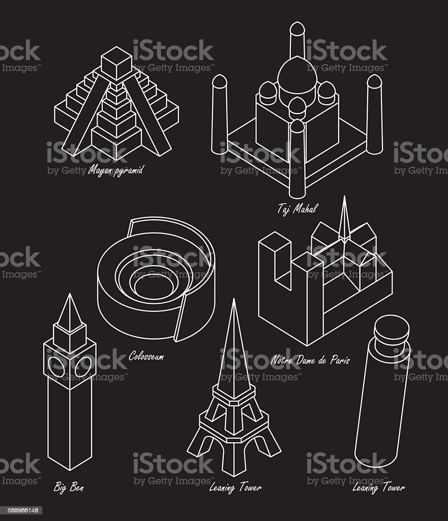 set architectural landmarks vector art illustration