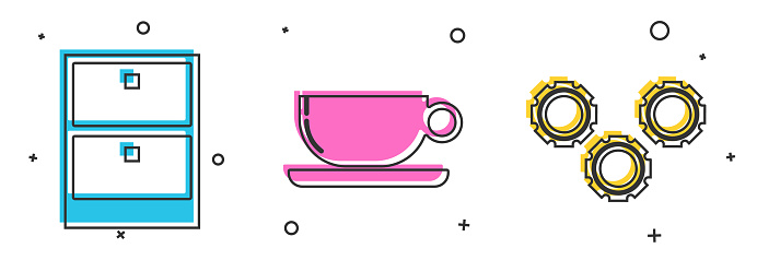 Set Archive papers drawer, Coffee cup flat and Gear icon. Vector
