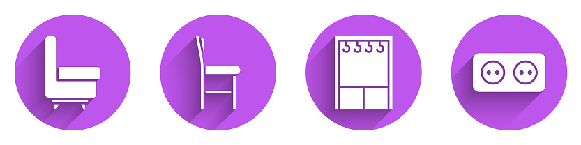 Set Armchair, Chair, Wardrobe and Electrical outlet icon with long shadow. Vector