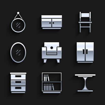 Set Armchair, Library bookshelf, Round table, Wardrobe, Furniture nightstand, Mirror, Chair and icon. Vector