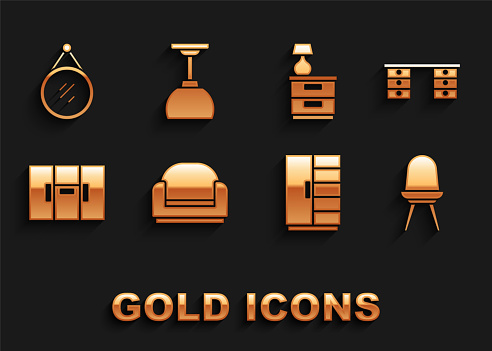 Set Armchair, Office desk, Chair, Wardrobe, Furniture nightstand with lamp, Mirror and Lamp hanging icon. Vector