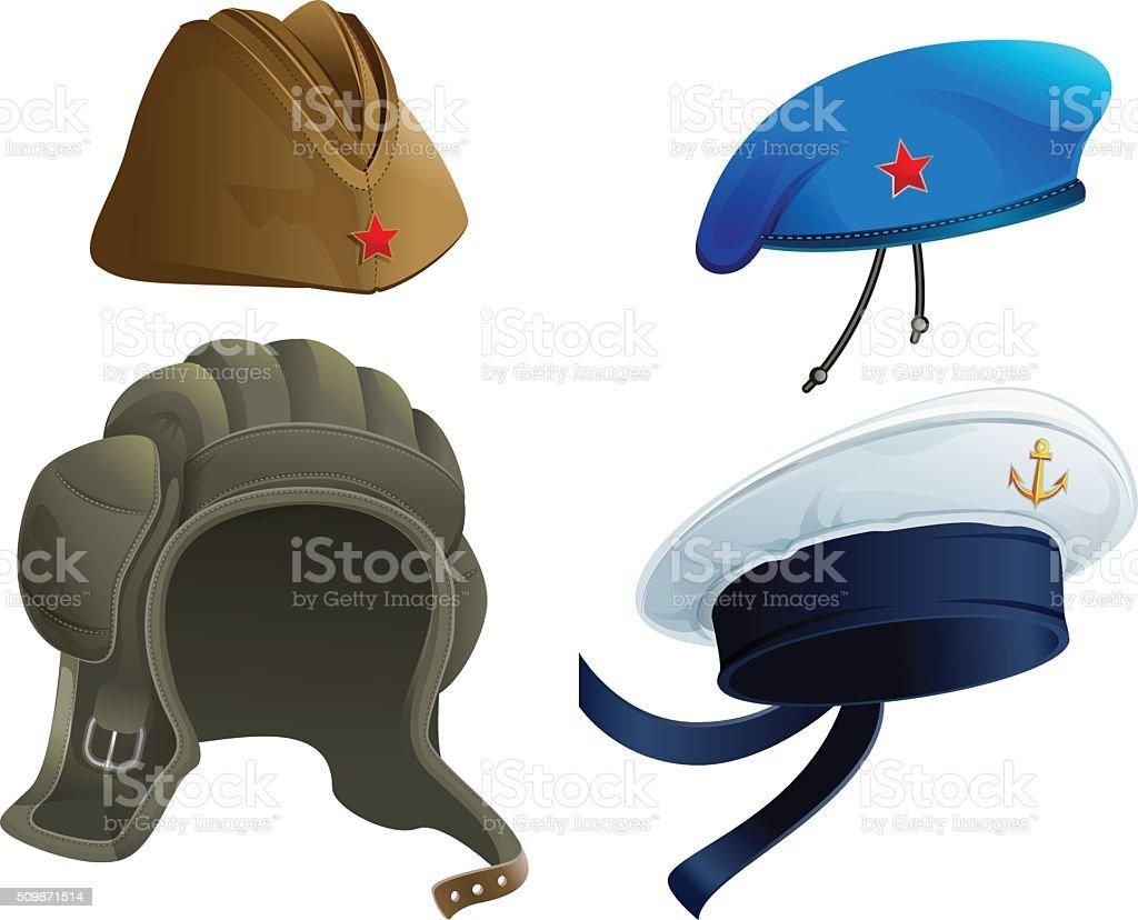Juego ejército tocado. Militares rusos guarnición tapa. Moderna casco militar - ilustración de arte vectorial
