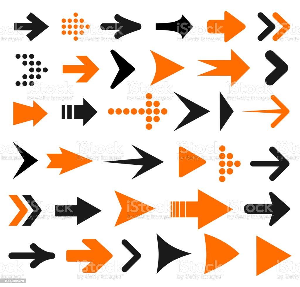 Set arrow icon. Different arrows sign – stock vector set arrow icon different arrows sign stock vector - immagini vettoriali stock e altre immagini di cerchio royalty-free