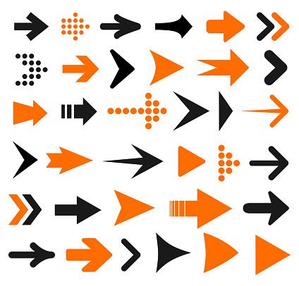 Vetores de Ícone De Seta Para Definir Sinal De Setas Diferentes Ações Vector e mais imagens de Comunicação