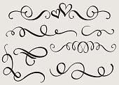 set art calligraphy flourish of vintage decorative whorls for design. Vector illustration EPS10.