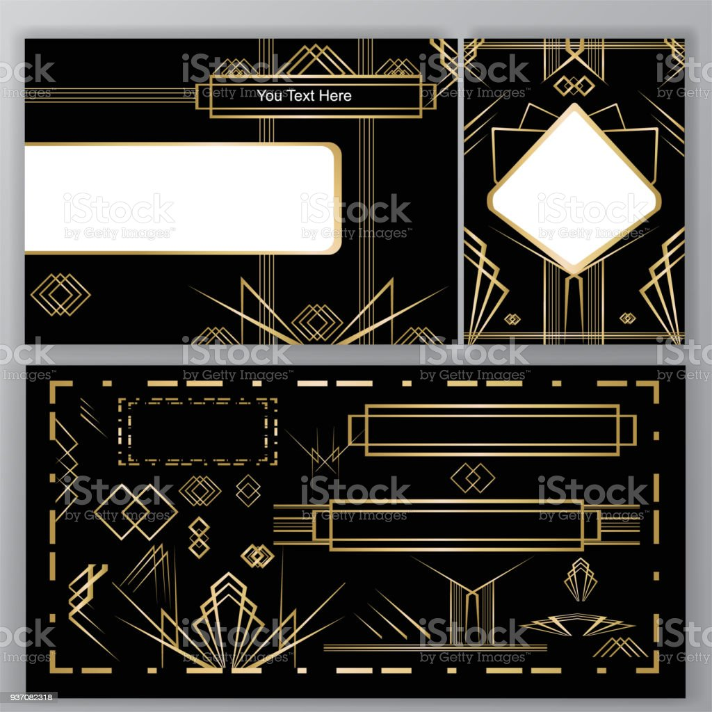 Set art deco diy vector art illustration