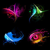 Set art logos consisting of spray and drops. 10 EPS file with transparency effects and overlapping colors.