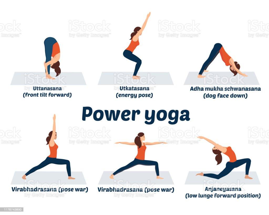 Set Asanas Power Yoga Posen Dynamische Muskelübungen Stock Vektor ...