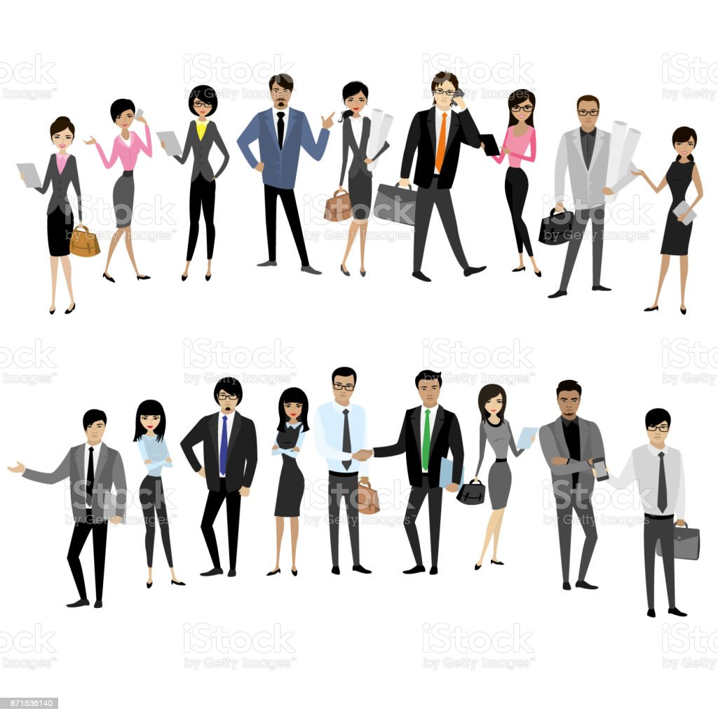 Set Asian businessmen and business women isolated on white backg vector art illustration