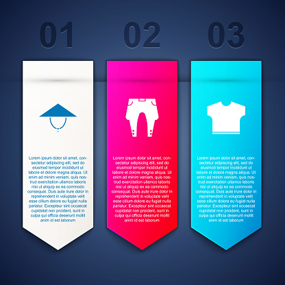 Set Asian conical hat, Pants and T-shirt. Business infographic template. Vector