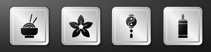 Set Asian noodles in bowl, Lotus flower, Yin Yang and Firework icon. Silver square button. Vector